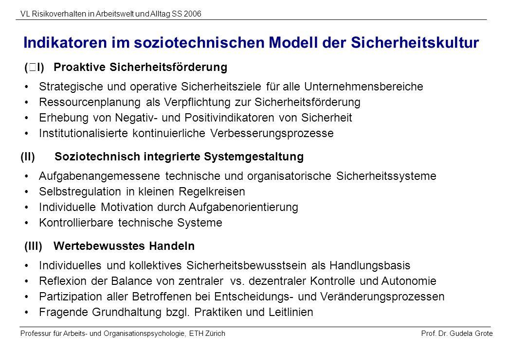 Prof. Dr. Gudela Grote VL Risikoverhalten in Arbeitswelt und Alltag SS 2006 Professur für Arbeits- und Organisationspsychologie, ETH Zürich Indikatore