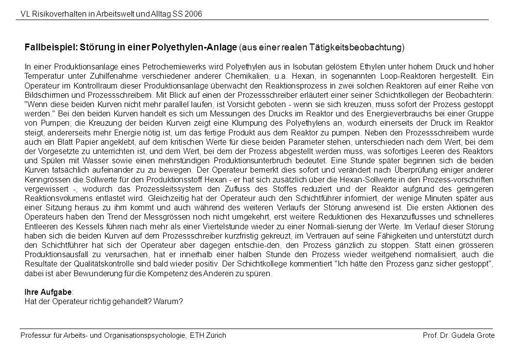 Prof. Dr. Gudela Grote VL Risikoverhalten in Arbeitswelt und Alltag SS 2006 Professur für Arbeits- und Organisationspsychologie, ETH Zürich Fallbeispi
