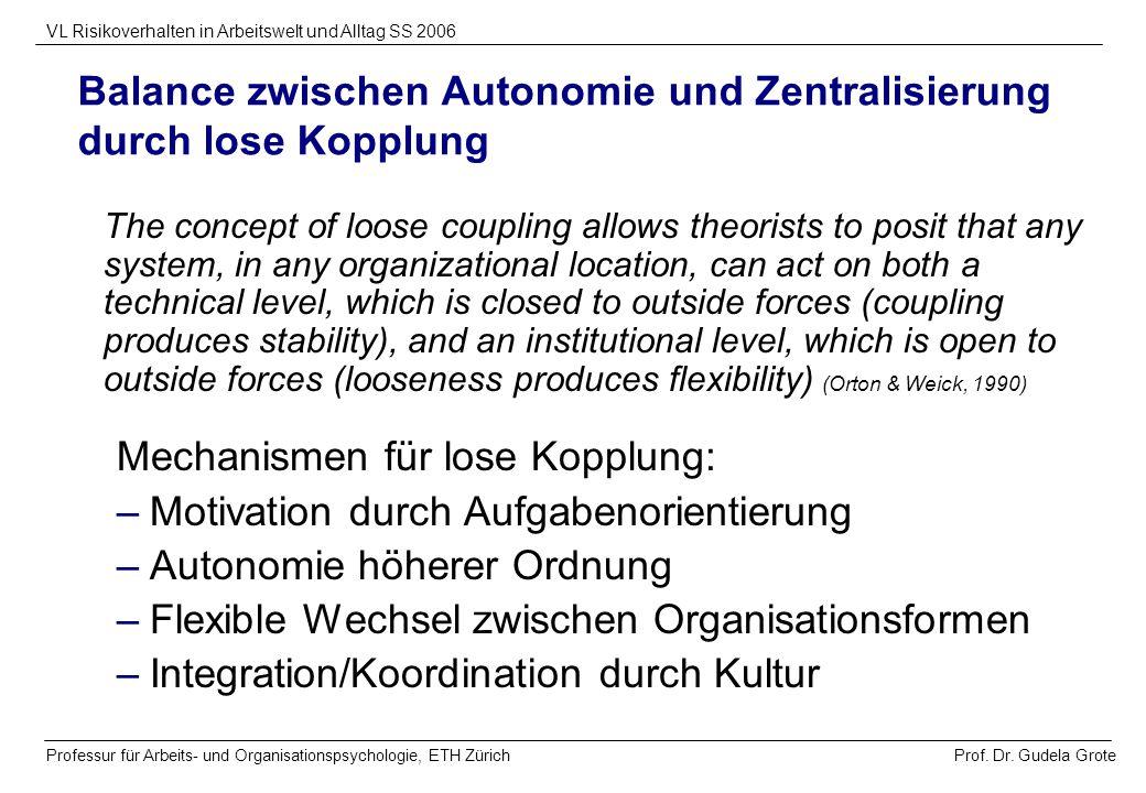 Prof. Dr. Gudela Grote VL Risikoverhalten in Arbeitswelt und Alltag SS 2006 Professur für Arbeits- und Organisationspsychologie, ETH Zürich Balance zw