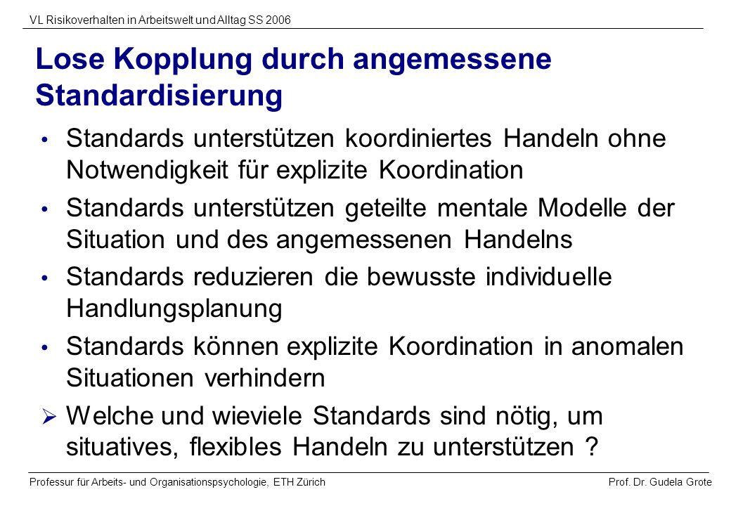 Prof. Dr. Gudela Grote VL Risikoverhalten in Arbeitswelt und Alltag SS 2006 Professur für Arbeits- und Organisationspsychologie, ETH Zürich Lose Koppl