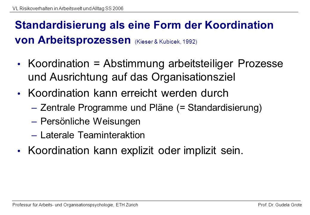 Prof. Dr. Gudela Grote VL Risikoverhalten in Arbeitswelt und Alltag SS 2006 Professur für Arbeits- und Organisationspsychologie, ETH Zürich Standardis