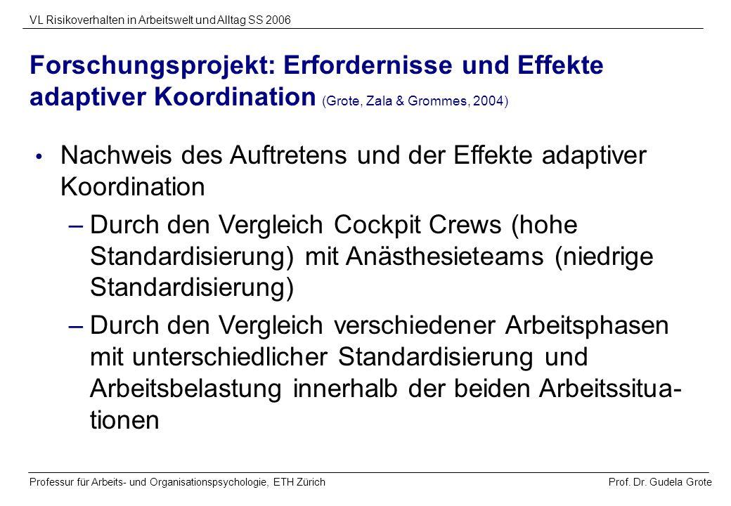Prof. Dr. Gudela Grote VL Risikoverhalten in Arbeitswelt und Alltag SS 2006 Professur für Arbeits- und Organisationspsychologie, ETH Zürich Forschungs