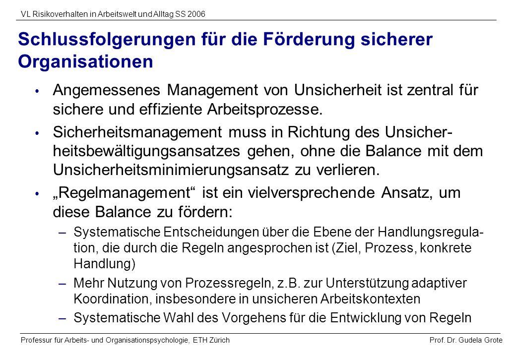 Prof. Dr. Gudela Grote VL Risikoverhalten in Arbeitswelt und Alltag SS 2006 Professur für Arbeits- und Organisationspsychologie, ETH Zürich Schlussfol
