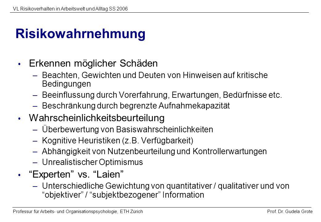 Prof. Dr. Gudela Grote VL Risikoverhalten in Arbeitswelt und Alltag SS 2006 Professur für Arbeits- und Organisationspsychologie, ETH Zürich Risikowahr