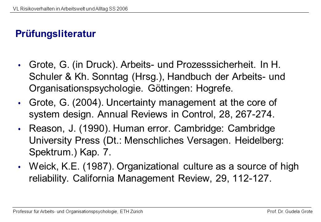 Prof. Dr. Gudela Grote VL Risikoverhalten in Arbeitswelt und Alltag SS 2006 Professur für Arbeits- und Organisationspsychologie, ETH Zürich Prüfungsli