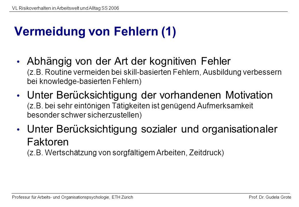 Prof. Dr. Gudela Grote VL Risikoverhalten in Arbeitswelt und Alltag SS 2006 Professur für Arbeits- und Organisationspsychologie, ETH Zürich Vermeidung