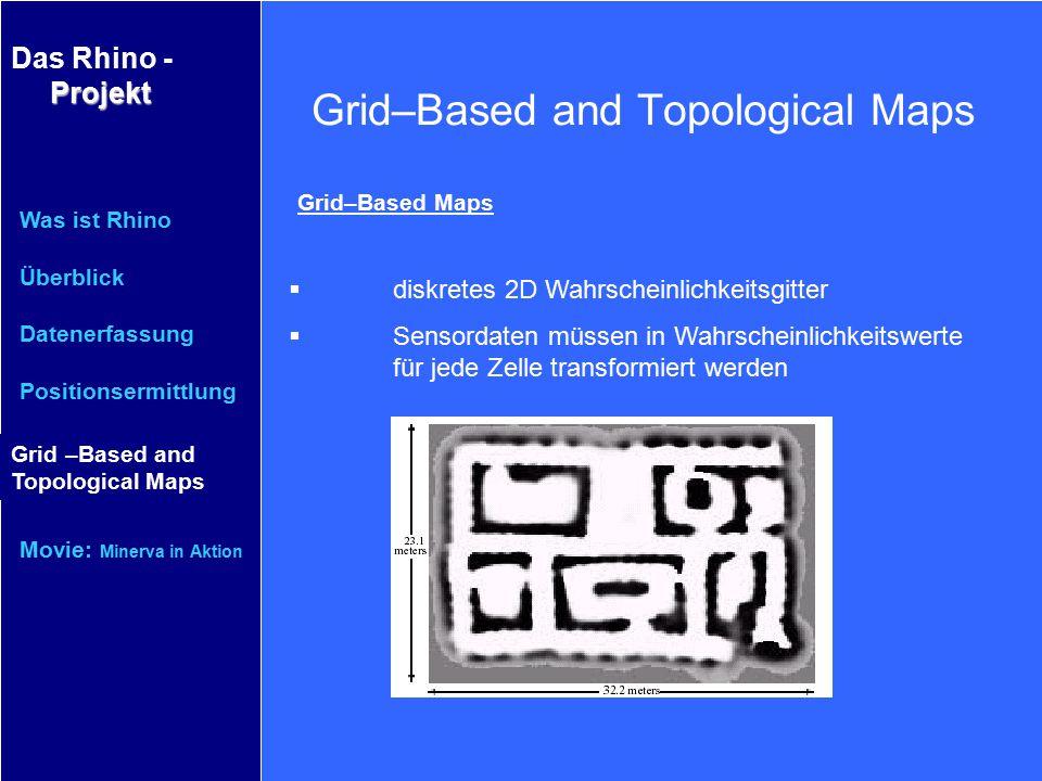 Projekt Das Rhino - Projekt Was ist Rhino Überblick Datenerfassung Positionsermittlung Grid–Based and Topological Maps Movie: Minerva in Aktion Grid–B