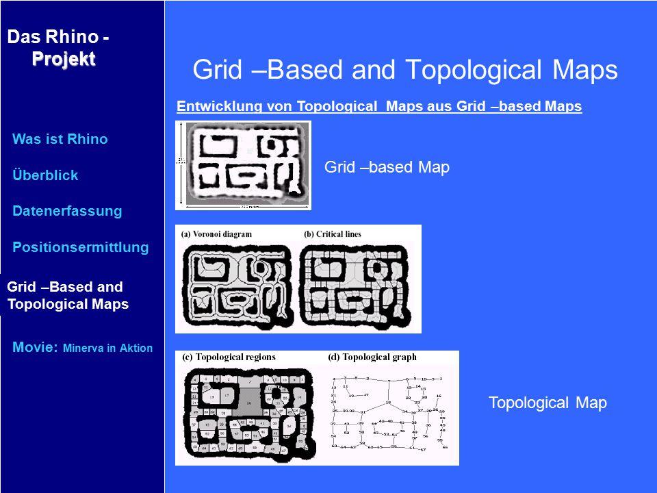 Projekt Das Rhino - Projekt Was ist Rhino Überblick Datenerfassung Positionsermittlung Grid–Based and Topological Maps Movie: Minerva in Aktion Grid –