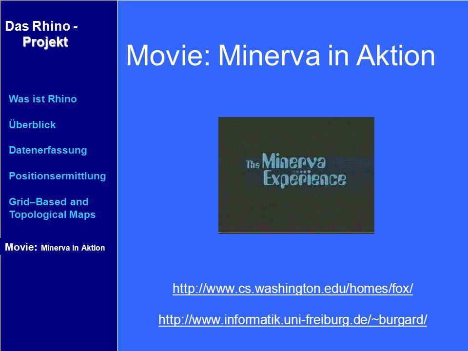 Projekt Das Rhino - Projekt Was ist Rhino Überblick Datenerfassung Positionsermittlung Grid–Based and Topological Maps Movie: Minerva in Aktion http:/