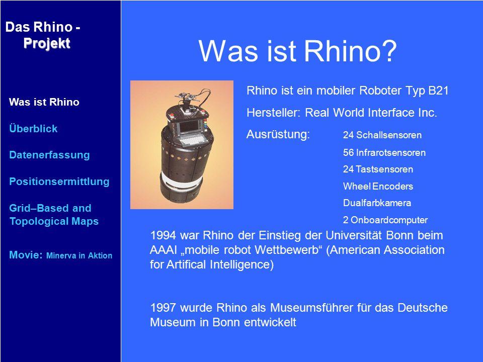 Projekt Das Rhino - Projekt Was ist Rhino Überblick Datenerfassung Positionsermittlung Grid–Based and Topological Maps Movie: Minerva in Aktion Überblick Die Software ist aus einer Sammlung von verschiedenen Modulen zusammengesetzt Sie ist in eine dezentralisierte asynchrone Softwarearchitektur eingebettet Fundamentale Module  Task Planing  Collision Avoidance  Map Acquisition and Motion Planing  Localization  Robot Learning Überblick Wie arbeitet Rhino?