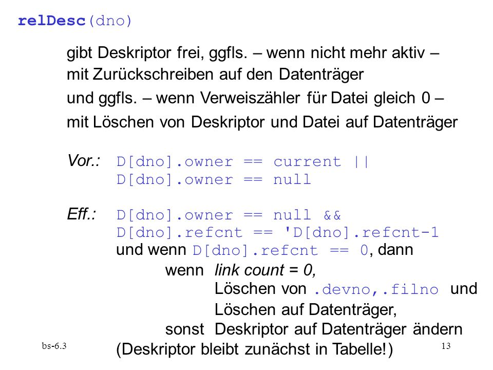 bs-6.313 relDesc(dno) gibt Deskriptor frei, ggfls.