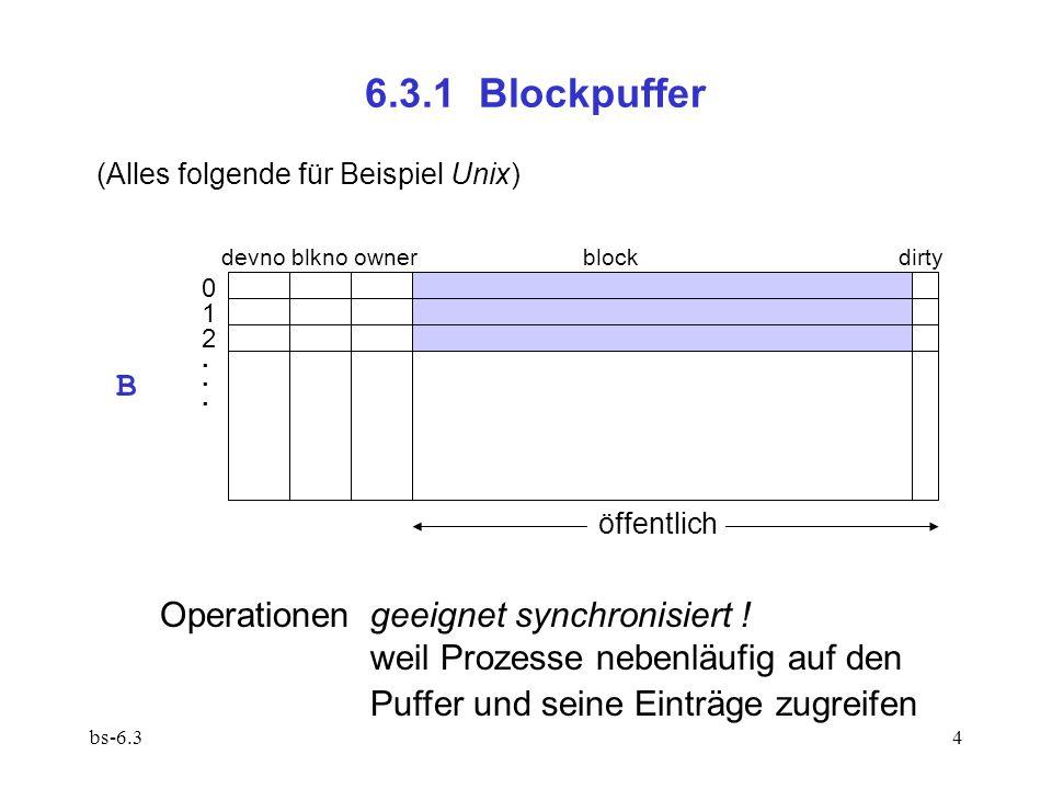 bs-6.35 bufno = reqBlock(devno,blkno) stellt sicher, dass der gewünschte Block sich im Puffer bufno befindet, und sperrt ihn; abstrahiert dabei von Pufferverwaltung, Ein/Ausgabe, Synchronisation Vor.