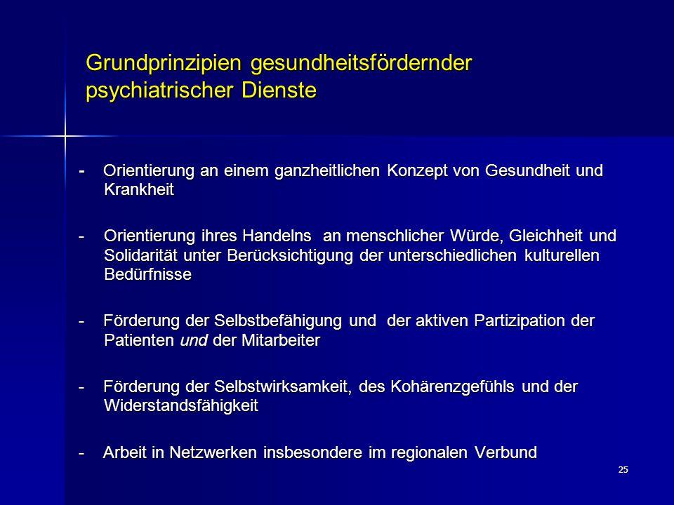 25 Grundprinzipien gesundheitsfördernder psychiatrischer Dienste - Orientierung an einem ganzheitlichen Konzept von Gesundheit und Krankheit -Orientie