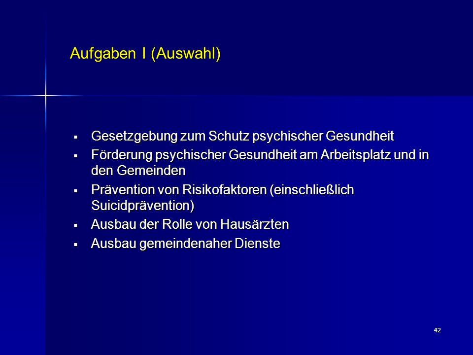 42 Aufgaben I (Auswahl)  Gesetzgebung zum Schutz psychischer Gesundheit  Förderung psychischer Gesundheit am Arbeitsplatz und in den Gemeinden  Prä