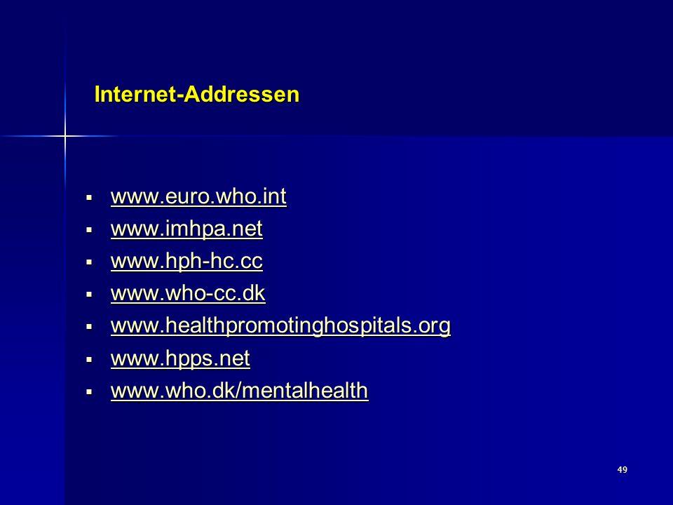 49 Internet-Addressen  www.euro.who.int www.euro.who.int  www.imhpa.net www.imhpa.net  www.hph-hc.cc www.hph-hc.cc www.hph-hc.cc  www.who-cc.dk ww