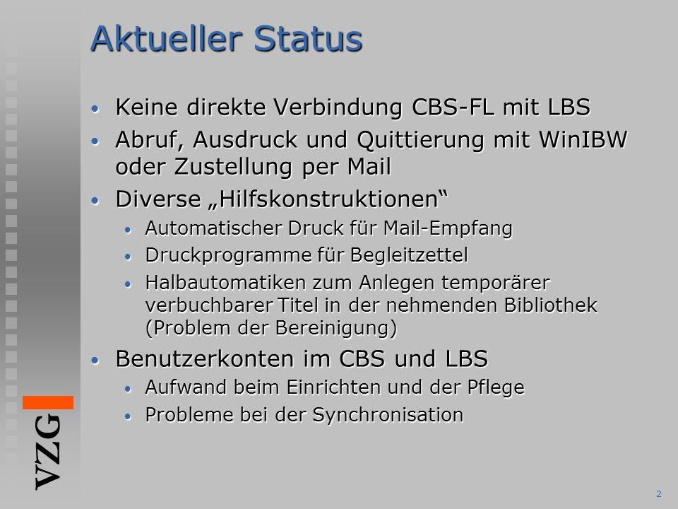 """VZG 3Ziel Automatische Übermittlung aktiver (AFL), passiver Fernleihe (PFL) Quittiervorgängen zwischen CBS und LBS Automatische Übermittlung aktiver (AFL), passiver Fernleihe (PFL) Quittiervorgängen zwischen CBS und LBS Bestellversand (AFL) CBS  LBS Bestellversand (AFL) CBS  LBS Quittung (pos/neg) LBS  CBS Quittung (pos/neg) LBS  CBS Benutzernummer + Titelinformation (PFL) CBS  LBS Benutzernummer + Titelinformation (PFL) CBS  LBS """"Returned Quittung LBS  CBS """"Returned Quittung LBS  CBS Protokoll: Simple Library Network Protokoll SLNP Protokoll: Simple Library Network Protokoll SLNP Wird vom ZFL-Server verwendet (BSZ, BVB, hbz, KOBV) Wird vom ZFL-Server verwendet (BSZ, BVB, hbz, KOBV) Verschiedene Systeme können vom GBV-CBS bedient werden z.B."""