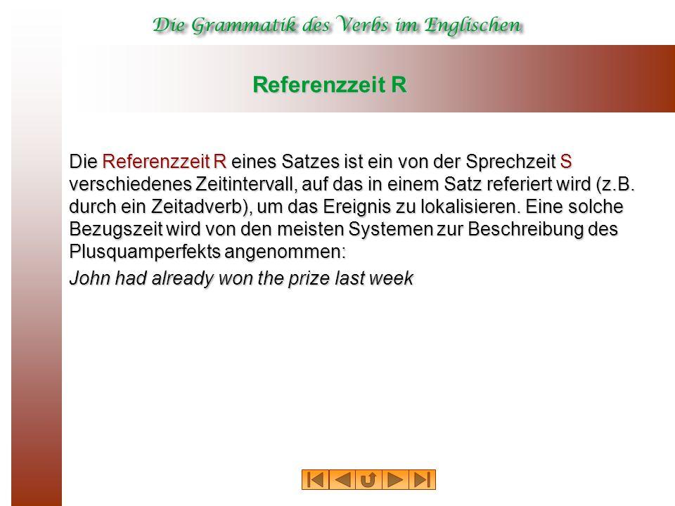 Referenzzeit R Die Referenzzeit R eines Satzes ist ein von der Sprechzeit S verschiedenes Zeitintervall, auf das in einem Satz referiert wird (z.B. du