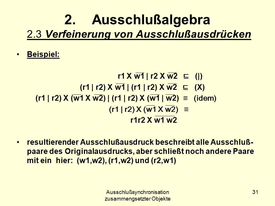 Ausschlußsynchronisation zusammengsetzter Objekte 31 2.Ausschlußalgebra 2.3 Verfeinerung von Ausschlußausdrücken Beispiel: r1 X w1 | r2 X w2 ⊑ (|) (r1 | r2) X w1 | (r1 | r2) X w2 ⊑ (X) (r1 | r2) X (w1 X w2) | (r1 | r2) X (w1 | w2) ≡ (idem) (r1 | r2) X (w1 X w2) ≡ r1r2 X w1 w2 resultierender Ausschlußausdruck beschreibt alle Ausschluß- paare des Originalausdrucks, aber schließt noch andere Paare mit ein hier: (w1,w2), (r1,w2) und (r2,w1)