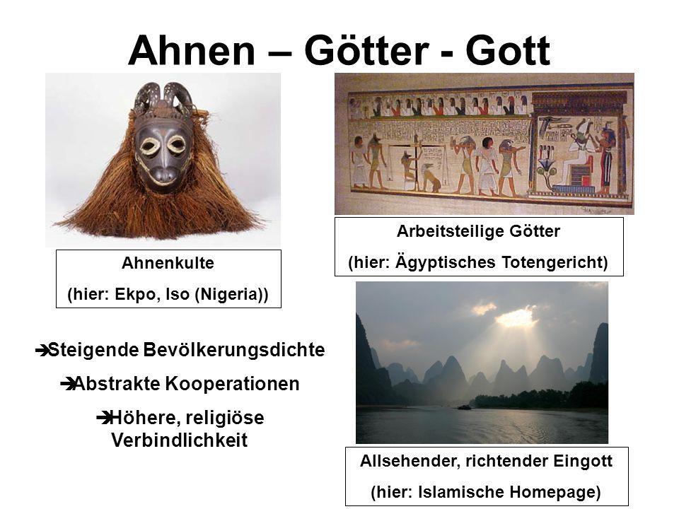 Ahnen – Götter - Gott Ahnenkulte (hier: Ekpo, Iso (Nigeria)) Arbeitsteilige Götter (hier: Ägyptisches Totengericht) Allsehender, richtender Eingott (h