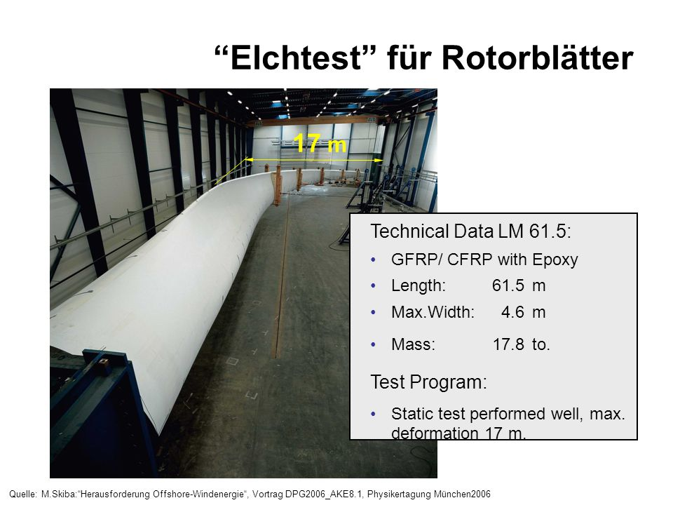 """Elchtest"" für Rotorblätter 17 m Technical Data LM 61.5: GFRP/ CFRP with Epoxy Length:61.5m Max.Width:4.6m Mass:17.8to. Test Program: Static test perf"