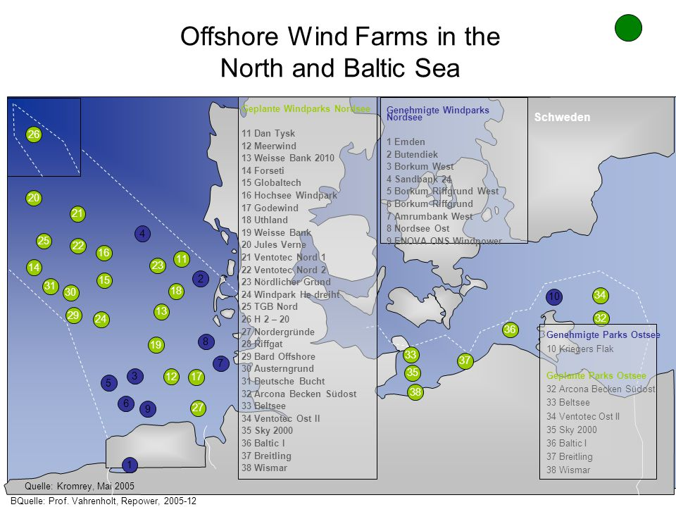 Offshore Wind Farms in the North and Baltic Sea 26 4 2 8 7 5 6 9 1 10 34 32 36 37 38 35 33 27 17 19 13 18 11 23 15 16 24 29 30 31 22 21 20 25 14 12 3