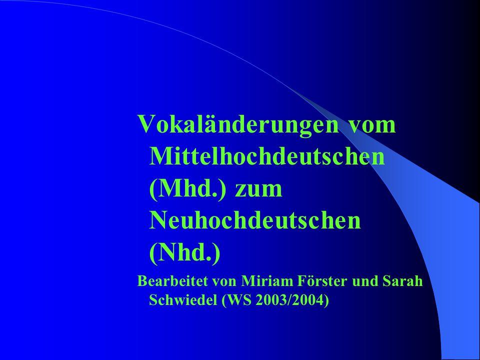 Vokaländerungen vom Mittelhochdeutschen (Mhd.) zum Neuhochdeutschen (Nhd.) Bearbeitet von Miriam Förster und Sarah Schwiedel (WS 2003/2004)