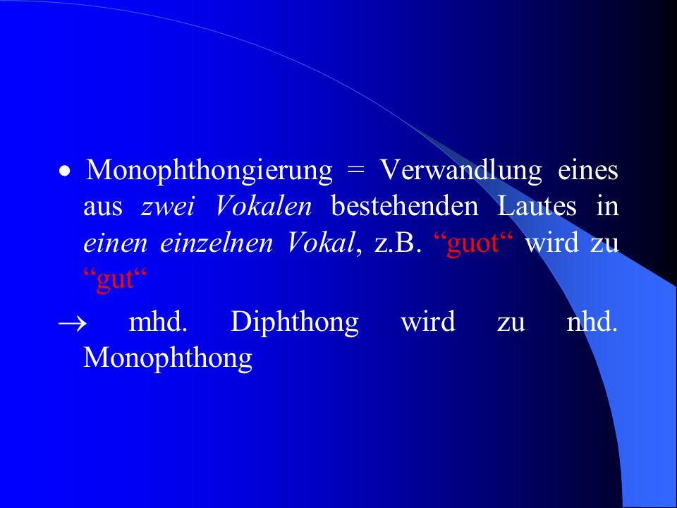 """Nhd. Monophthongierung  Monophthong = Laut, der aus einem Vokal besteht  grch. monophthongos """"eintönig"""", z.B. """"ü"""", """"ie"""" wie in """"lieb"""" (Obwohl """"ie"""" h"""