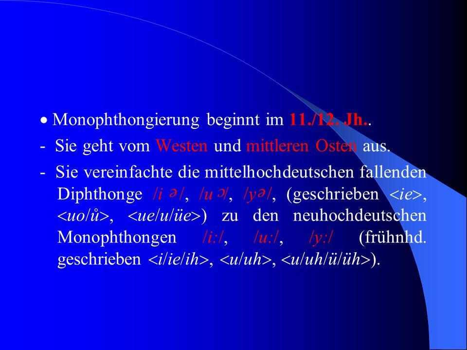 """ Monophthongierung = Verwandlung eines aus zwei Vokalen bestehenden Lautes in einen einzelnen Vokal, z.B. """"guot"""" wird zu """"gut""""  mhd. Diphthong wird"""