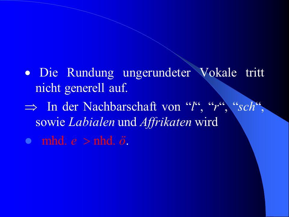 """Rundung ungerundeter Vokale  Auch Labialisierung.  Veränderung der Lippenstellung von """"ungerundet, gespreizt"""" zu """"gerundet"""" bei der Vokalartikulatio"""