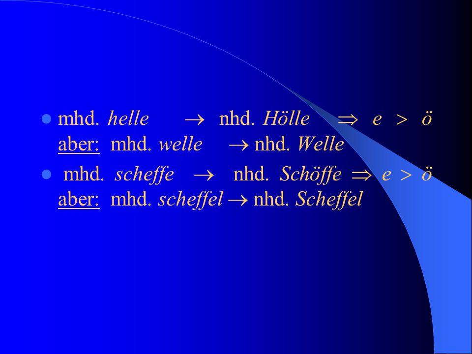 """ Die Rundung ungerundeter Vokale tritt nicht generell auf.  In der Nachbarschaft von """"l"""", """"r"""", """"sch"""", sowie Labialen und Affrikaten wird mhd. e  nh"""