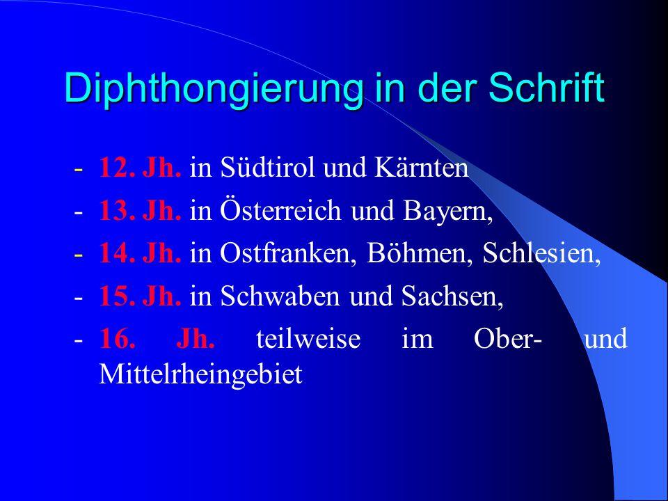 Diphthongierung in der Schrift - 12.Jh. in Südtirol und Kärnten - 13.