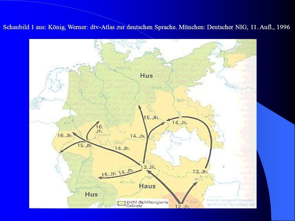  Von der Diphthongierung nicht betroffen sind das - Niederdeutsche, - Nordhessische, - Westthüringische, - Ripuarische (um Köln), - Alemannische (Süd