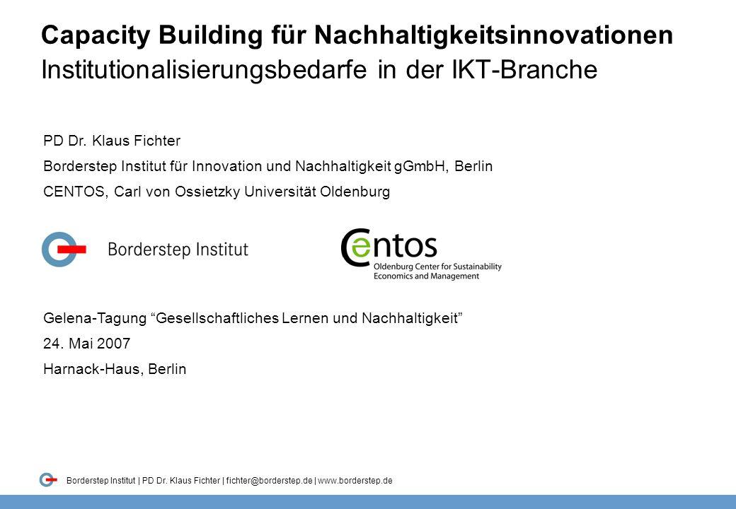 Folie 1 Borderstep Institut | PD Dr. Klaus Fichter | fichter@borderstep.de | www.borderstep.de Capacity Building für Nachhaltigkeitsinnovationen Insti