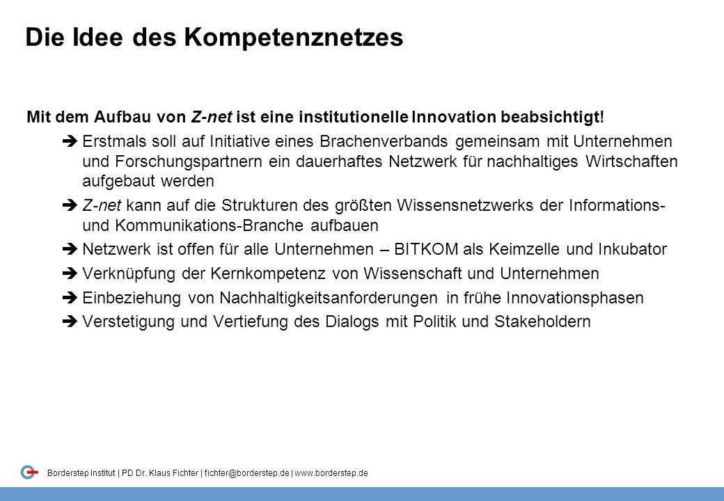 Borderstep Institut | PD Dr. Klaus Fichter | fichter@borderstep.de | www.borderstep.de Die Idee des Kompetenznetzes Mit dem Aufbau von Z-net ist eine