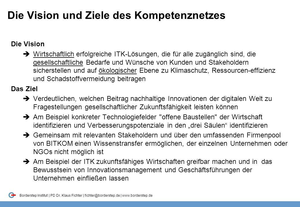 Borderstep Institut | PD Dr. Klaus Fichter | fichter@borderstep.de | www.borderstep.de Die Vision und Ziele des Kompetenznetzes Die Vision  Wirtschaf