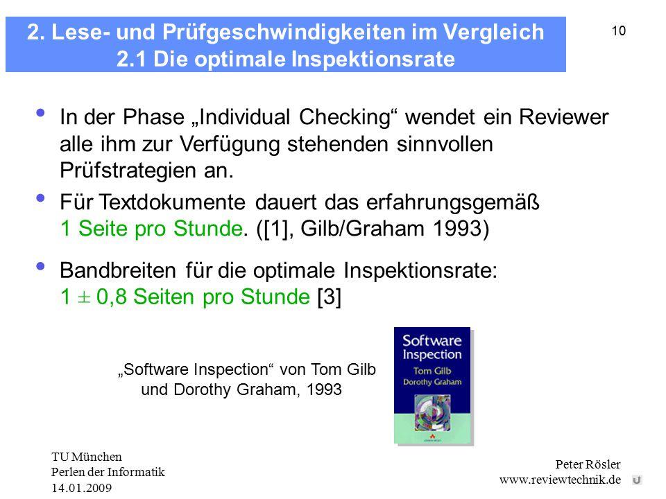 TU München Perlen der Informatik 14.01.2009 Peter Rösler www.reviewtechnik.de 10 2. Lese- und Prüfgeschwindigkeiten im Vergleich 2.1 Die optimale Insp
