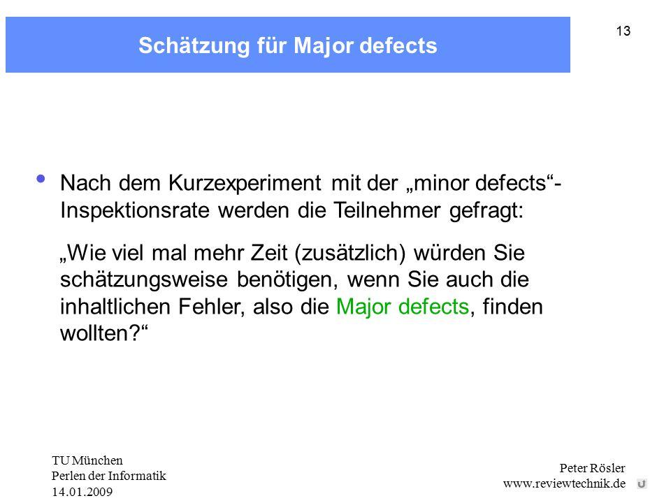 """TU München Perlen der Informatik 14.01.2009 Peter Rösler www.reviewtechnik.de 13 Schätzung für Major defects Nach dem Kurzexperiment mit der """"minor defects - Inspektionsrate werden die Teilnehmer gefragt: """"Wie viel mal mehr Zeit (zusätzlich) würden Sie schätzungsweise benötigen, wenn Sie auch die inhaltlichen Fehler, also die Major defects, finden wollten"""