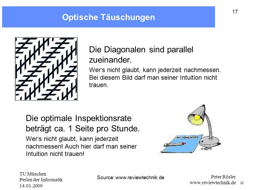 TU München Perlen der Informatik 14.01.2009 Peter Rösler www.reviewtechnik.de 17 Optische Täuschungen Die optimale Inspektionsrate beträgt ca. 1 Seite