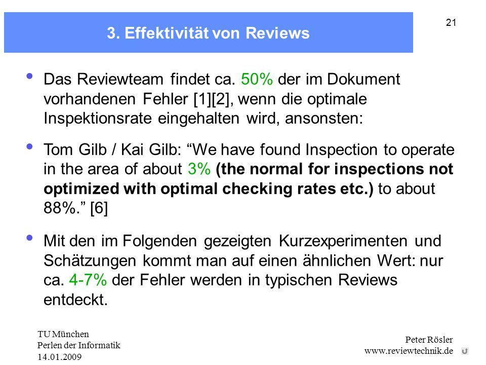 TU München Perlen der Informatik 14.01.2009 Peter Rösler www.reviewtechnik.de 21 3. Effektivität von Reviews Das Reviewteam findet ca. 50% der im Doku