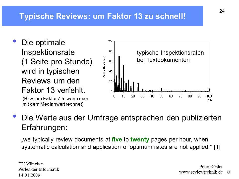 TU München Perlen der Informatik 14.01.2009 Peter Rösler www.reviewtechnik.de 24 Typische Reviews: um Faktor 13 zu schnell! typische Inspektionsraten