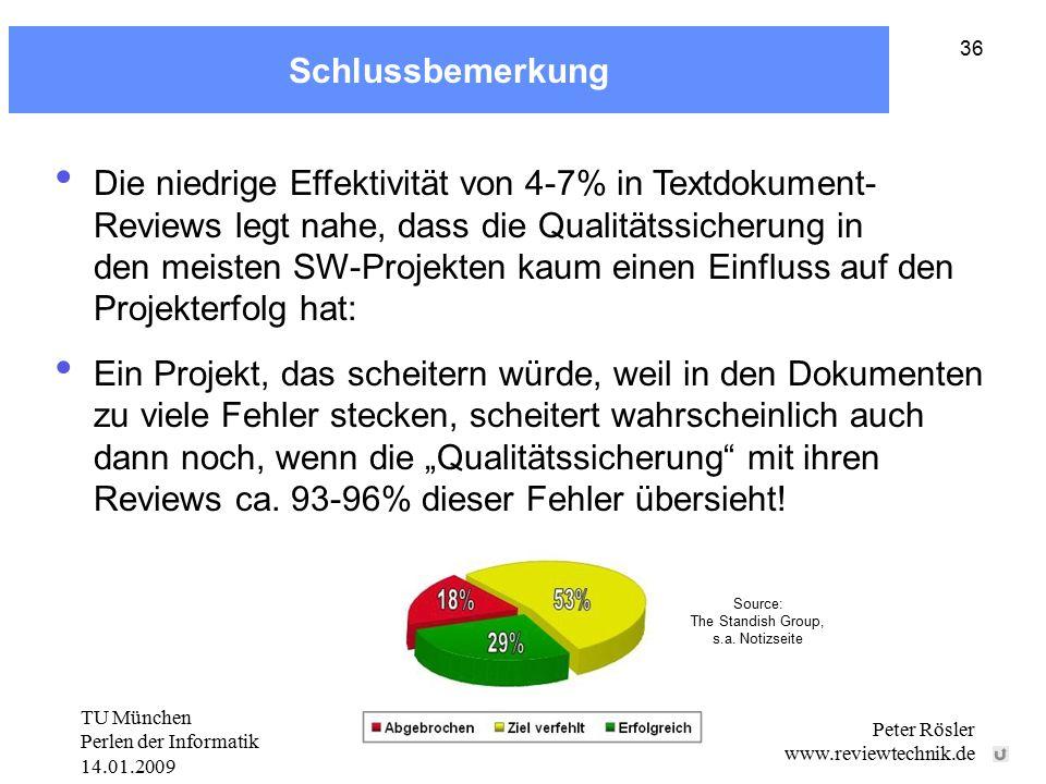 """TU München Perlen der Informatik 14.01.2009 Peter Rösler www.reviewtechnik.de 36 Schlussbemerkung Die niedrige Effektivität von 4-7% in Textdokument- Reviews legt nahe, dass die Qualitätssicherung in den meisten SW-Projekten kaum einen Einfluss auf den Projekterfolg hat: Ein Projekt, das scheitern würde, weil in den Dokumenten zu viele Fehler stecken, scheitert wahrscheinlich auch dann noch, wenn die """"Qualitätssicherung mit ihren Reviews ca."""
