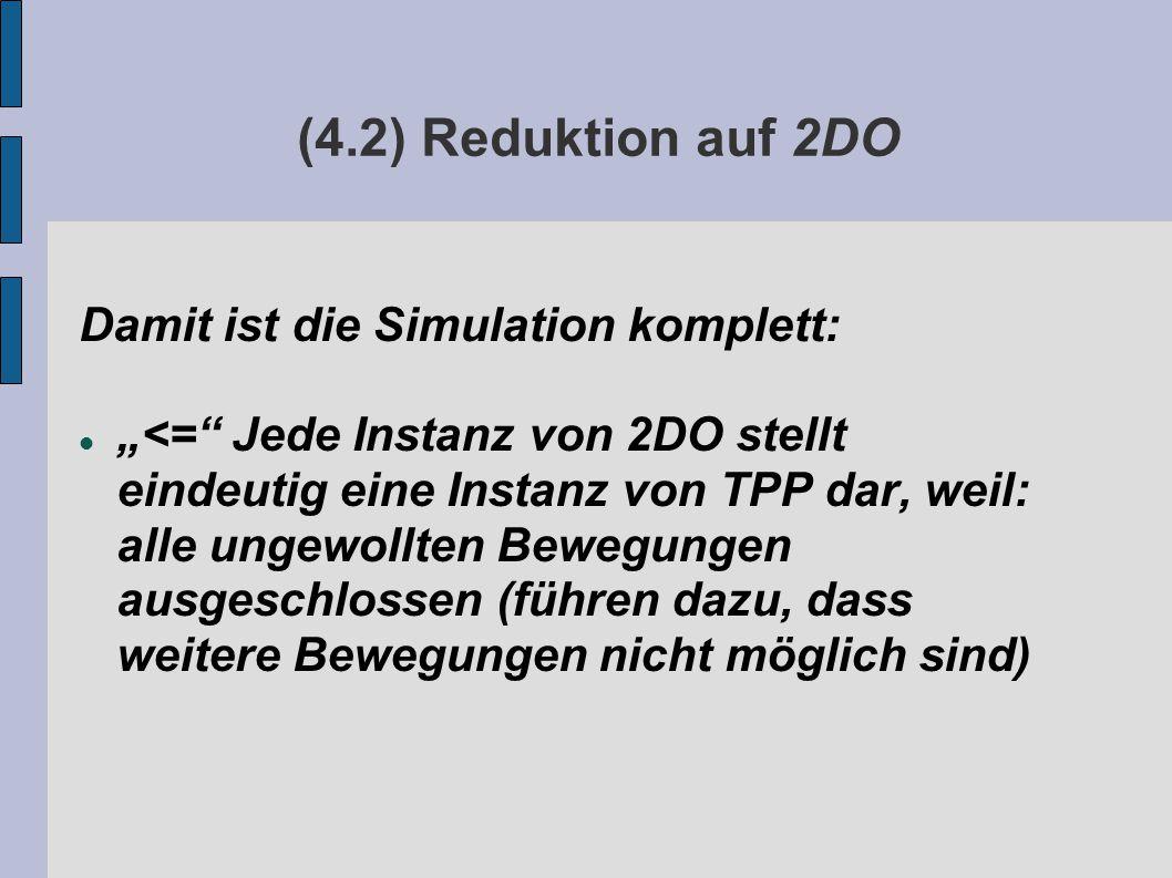 """(4.2) Reduktion auf 2DO Damit ist die Simulation komplett: """"<= Jede Instanz von 2DO stellt eindeutig eine Instanz von TPP dar, weil: alle ungewollten Bewegungen ausgeschlossen (führen dazu, dass weitere Bewegungen nicht möglich sind)"""