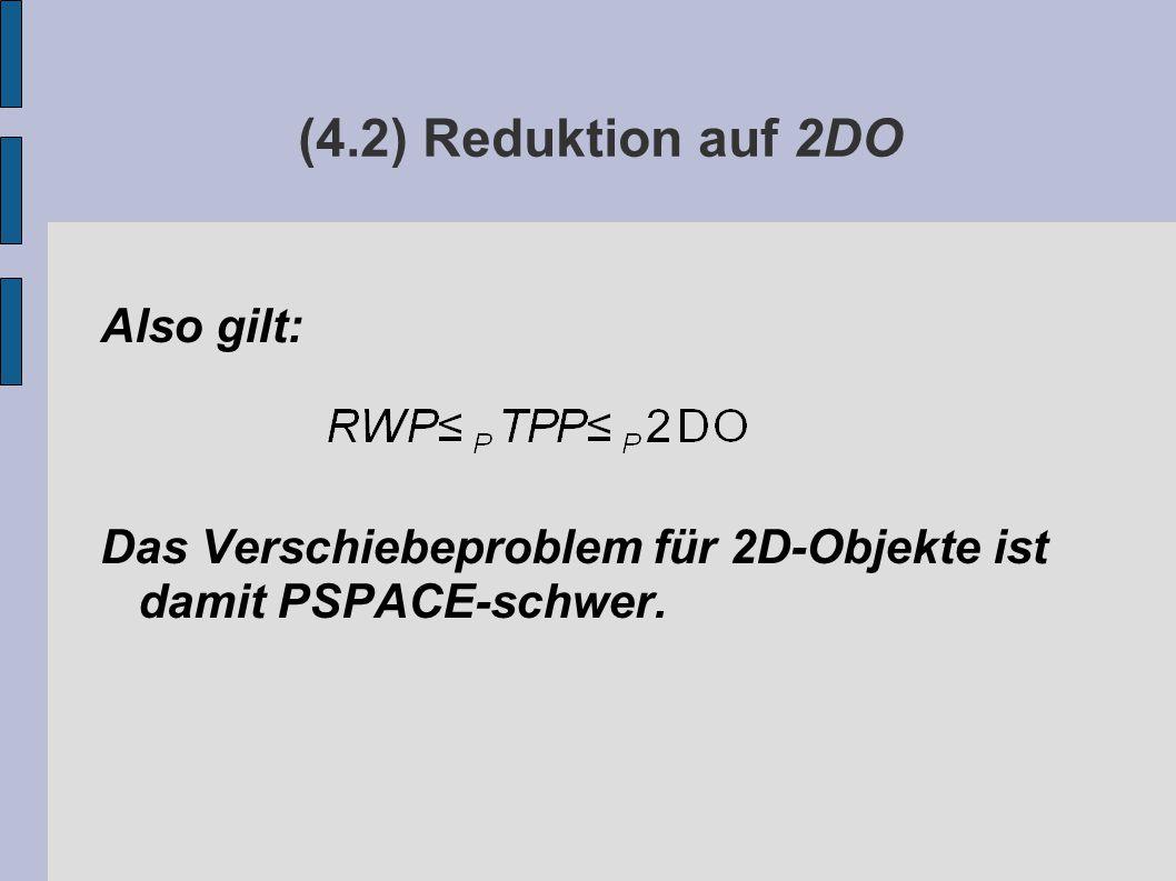 (4.2) Reduktion auf 2DO Also gilt: Das Verschiebeproblem für 2D-Objekte ist damit PSPACE-schwer.