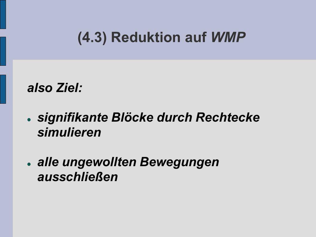 (4.3) Reduktion auf WMP also Ziel: signifikante Blöcke durch Rechtecke simulieren alle ungewollten Bewegungen ausschließen