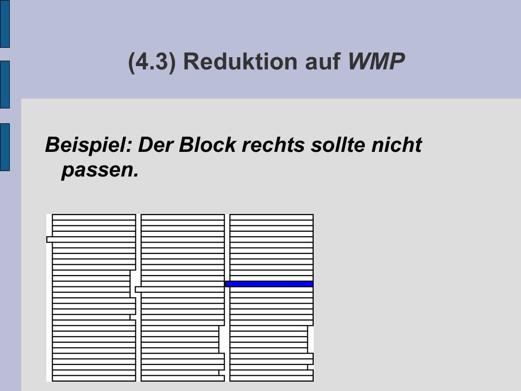 (4.3) Reduktion auf WMP Beispiel: Der Block rechts sollte nicht passen.