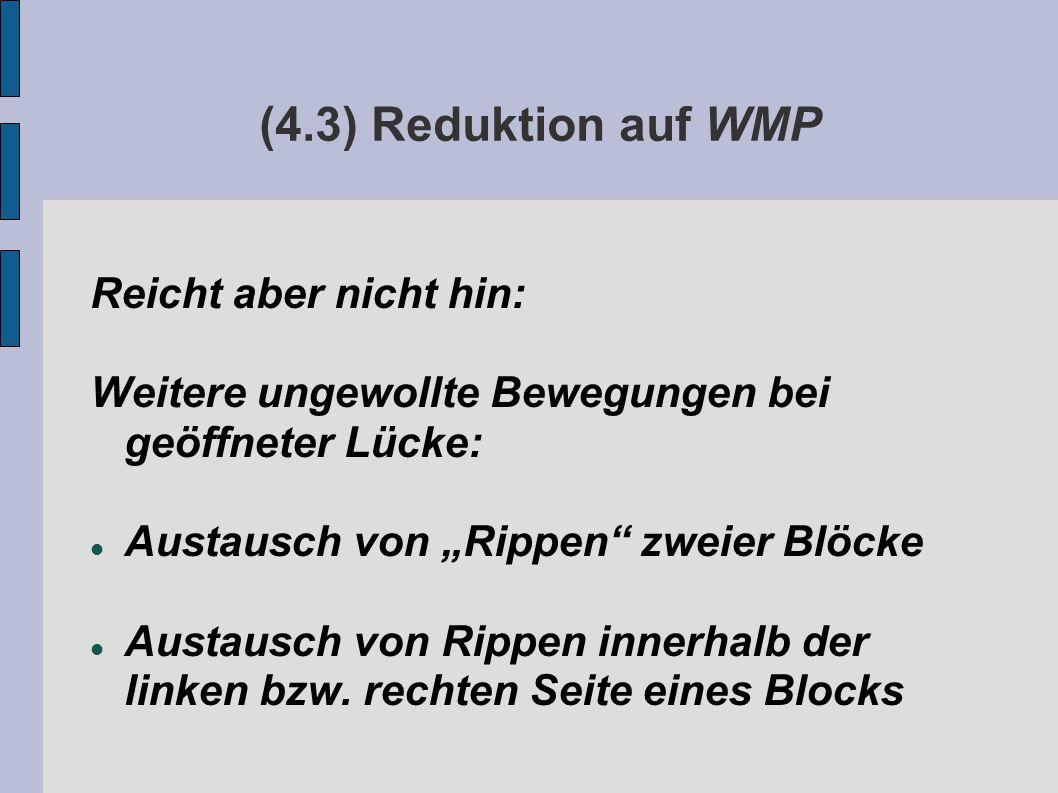 """(4.3) Reduktion auf WMP Reicht aber nicht hin: Weitere ungewollte Bewegungen bei geöffneter Lücke: Austausch von """"Rippen zweier Blöcke Austausch von Rippen innerhalb der linken bzw."""