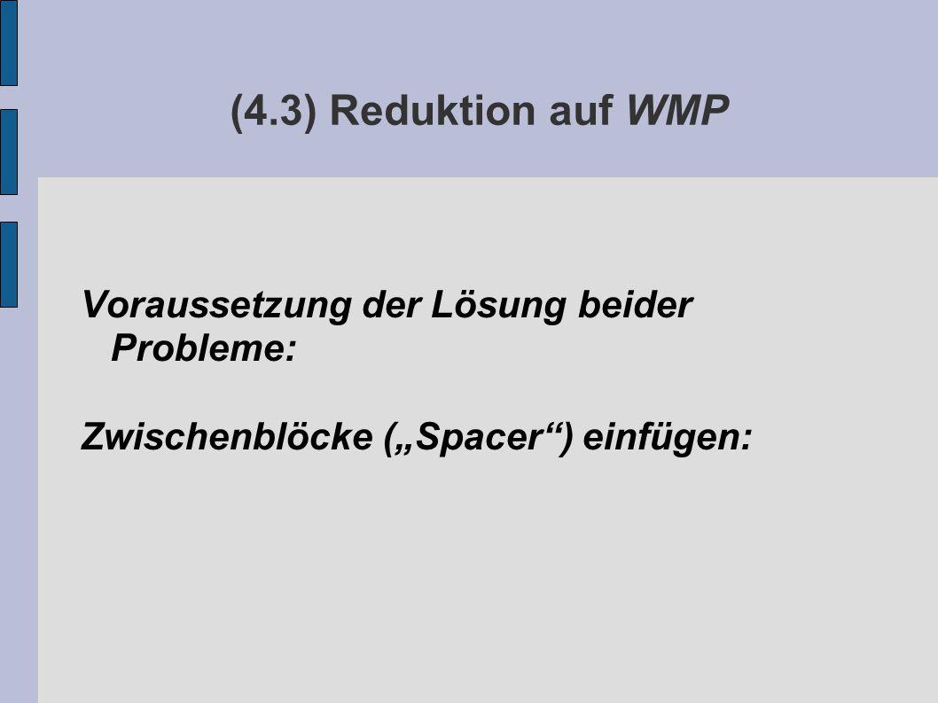"""(4.3) Reduktion auf WMP Voraussetzung der Lösung beider Probleme: Zwischenblöcke (""""Spacer ) einfügen:"""