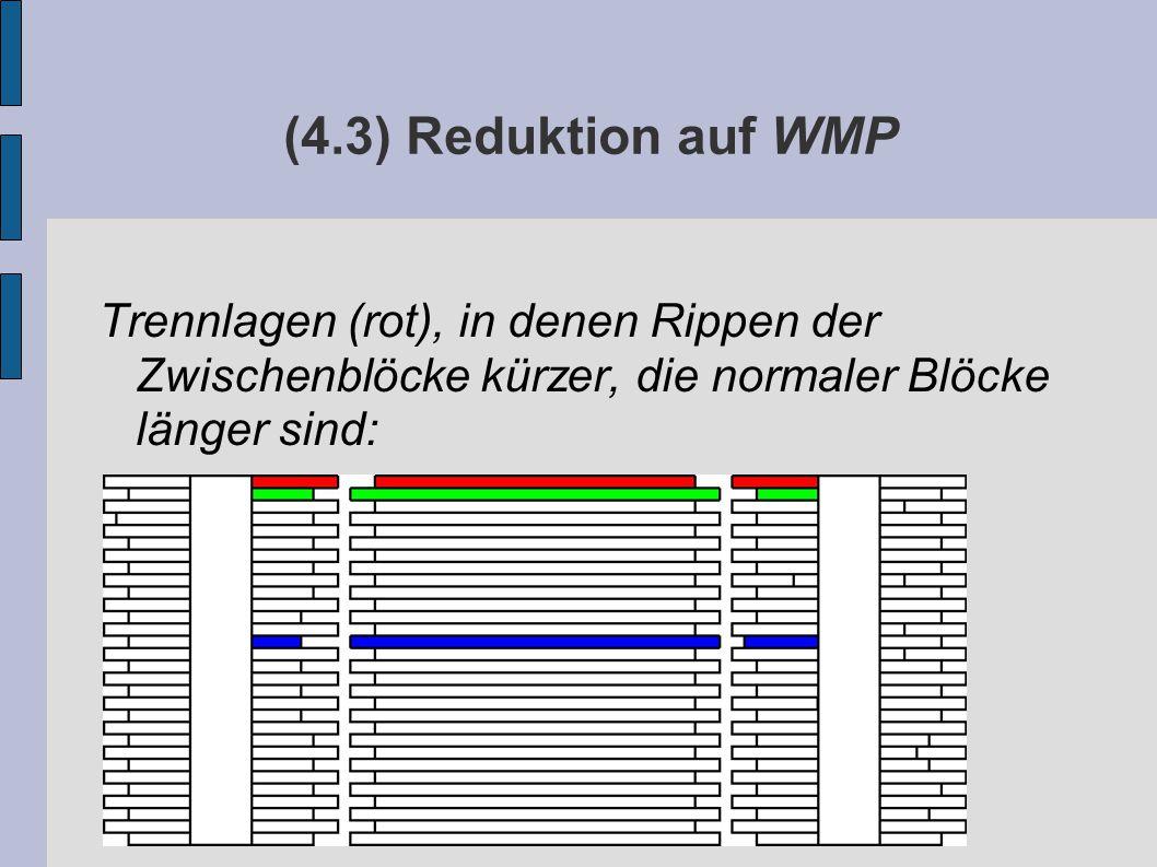 (4.3) Reduktion auf WMP Trennlagen (rot), in denen Rippen der Zwischenblöcke kürzer, die normaler Blöcke länger sind: