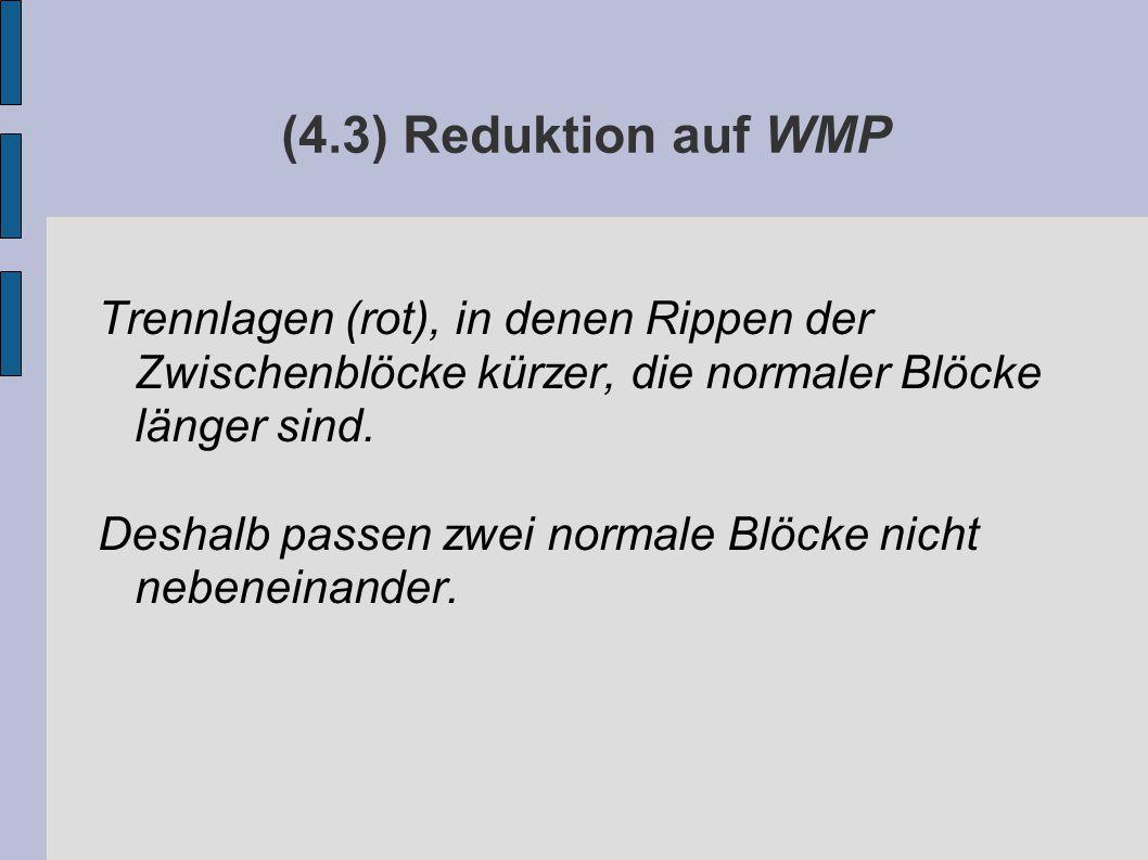 (4.3) Reduktion auf WMP Trennlagen (rot), in denen Rippen der Zwischenblöcke kürzer, die normaler Blöcke länger sind.
