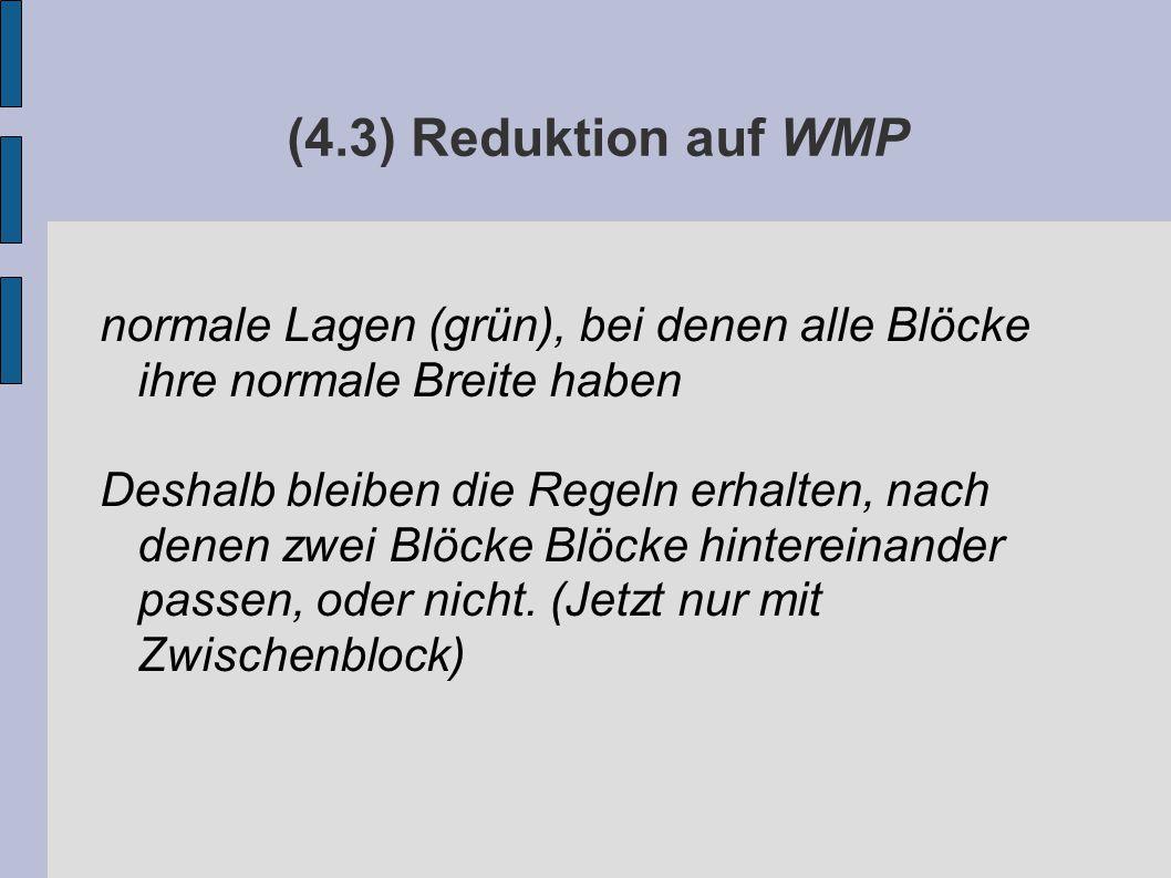 (4.3) Reduktion auf WMP normale Lagen (grün), bei denen alle Blöcke ihre normale Breite haben Deshalb bleiben die Regeln erhalten, nach denen zwei Blöcke Blöcke hintereinander passen, oder nicht.